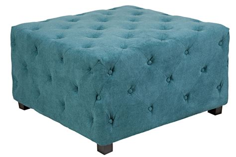 Duncan Large Tufted Teal Cube Ottoman At Gardner White