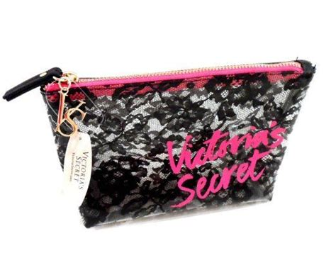 s secret makeup cosmetic bag clear black lace small ebay