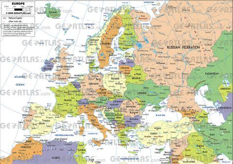 Map A4 Bunga Eiffel 10 geoatlas europe eu europe a4 format map city