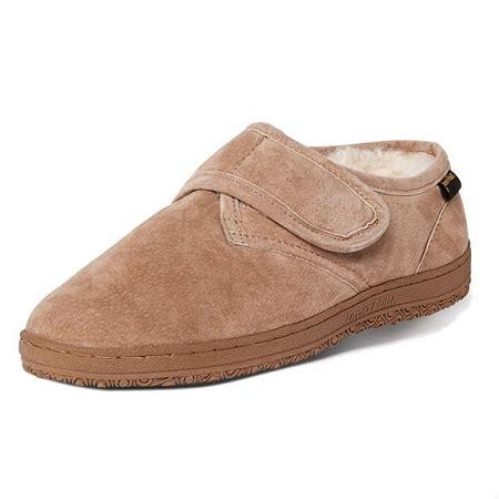 mens slippers wide width 4e friend footwear 421217 s adjustable sheepskin