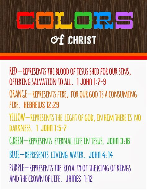 colors of the bible colors of meanings free printable detail