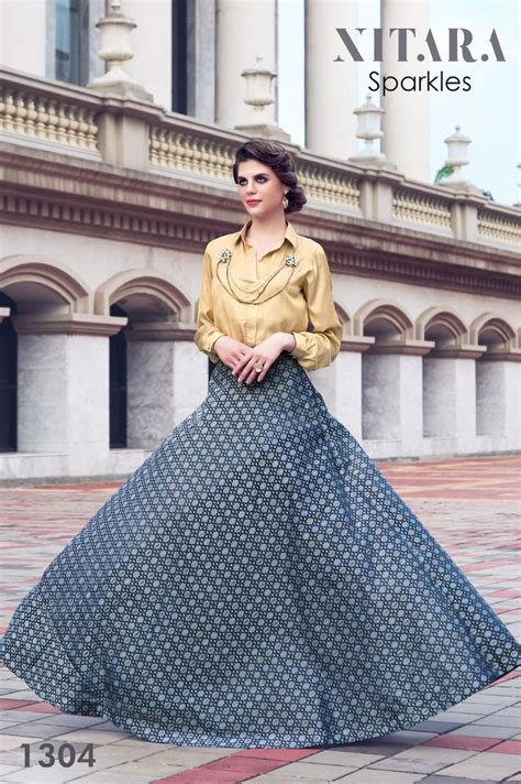 Indo Surat nitara sparkles traditional indo western gown wholesale