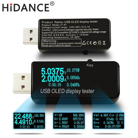 Dc Voltmeter Usb Tester oled 128x64 usb tester dc voltmeter current voltage meters power bank battery capacity monitor
