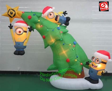 minion bounce house gemmy airblown inflatable 10 minions decorating a christmas tree stuff to buy