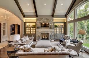 built in cabinet ideas for family room living room transitional with views vaulted ceiling