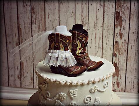 Cowboy Boots Wedding Cake Topper Western by MorganTheCreator