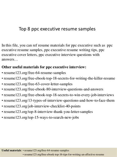 top 8 ppc executive resume sles
