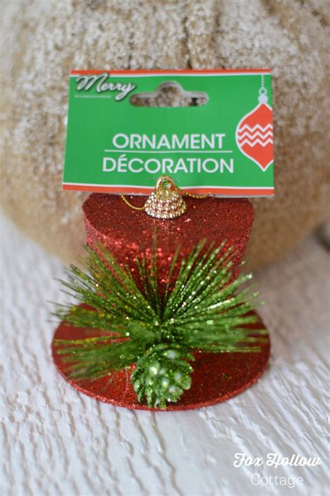 family dollar christmas ornaments how to turn a dollar tree ornament into frosty s vintage top hat fox hollow cottage