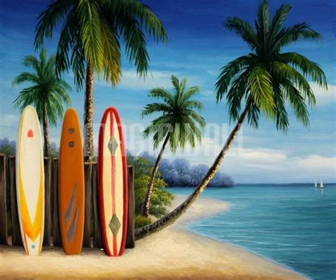 island surfboards and palm trees wall murals wall