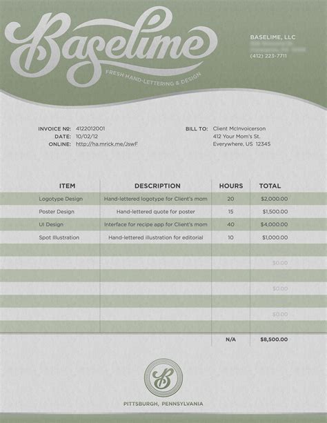 freelance graphic designer invoice template bonsai