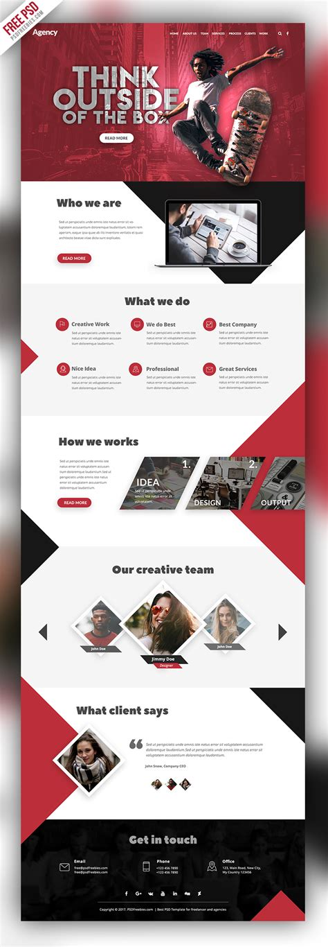 Agency Creative Website Template Free Psd Psdfreebies Com Psd Website Templates Free 2017