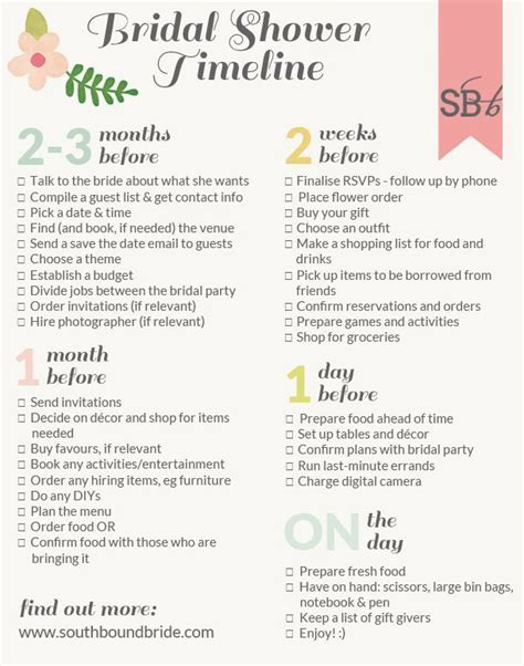 printable bridal shower checklist southbound guide how to plan the perfect bridal shower
