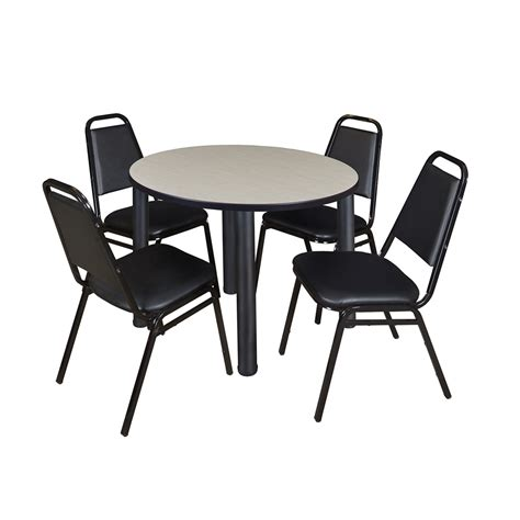 breakroom table and chairs kee 36 quot breakroom table maple black 4 restaurant
