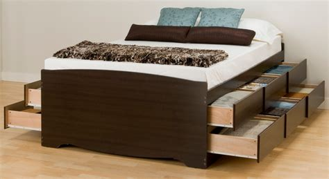 Modern Bed With Drawers by Prepac Platform Storage Bed In Espresso With 12