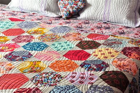 Modern Patchwork Quilt Designs - modern patchwork hexagon custom quilt coverlet bed spread