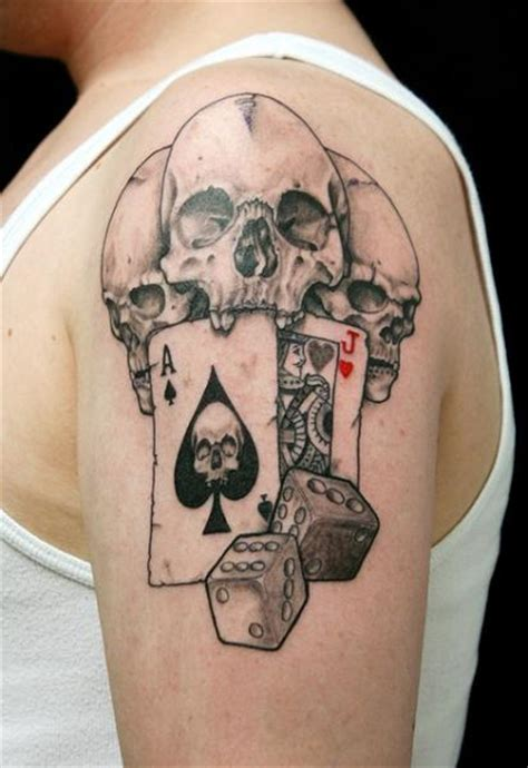 cards tattoo shoulder skull dice ace card by skin