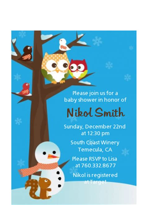 Winter Owl Baby Shower Invitations by Owl Winter Theme Or Baby Shower