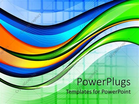 Powerpoint Template Abstract Wave And Grid Background In Green Blue Orange And Yellow 897 Blue And Orange Powerpoint Template