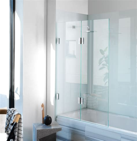 folding glass bath shower screen diptych bi fold bath screen frameless glass shower