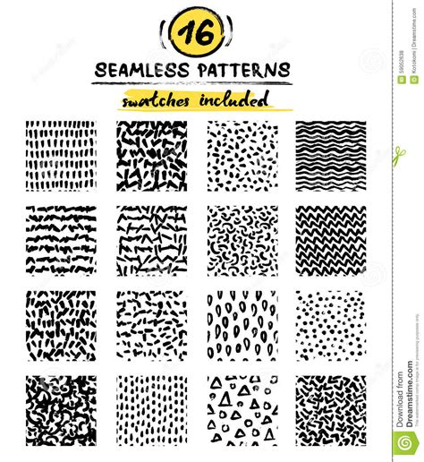 svg marker pattern set of hand drawn marker and ink seamless patterns stock