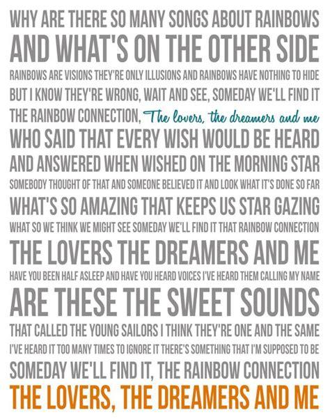 printable lyrics for rainbow connection song lyric poster the rainbow connection 11x14 gray