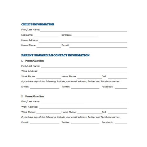 child information form template 12 sle emergency contact forms to sle