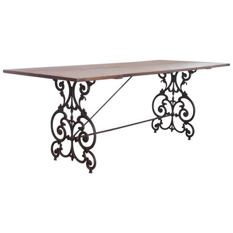 Wrought Iron And Wood Dining Table American Wrought Iron And Wood Base Dining Table Circa 1900s At 1stdibs