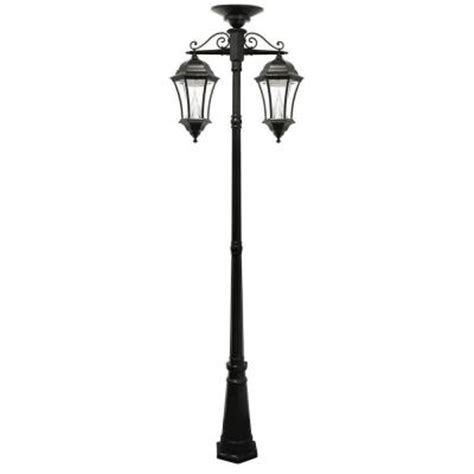 Gama Sonic Victorian Downward Hanging 2 Head Solar Black Home Depot Solar Post Lights