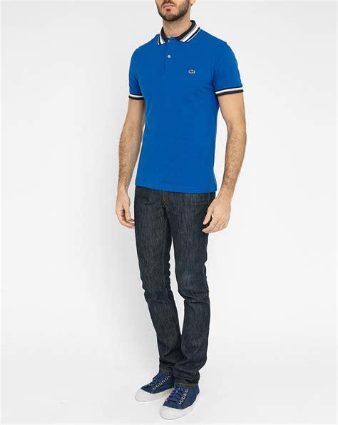 kaos polo shirt lacost blue three tone lacoste blue sleeve polo shirt with two tone collar
