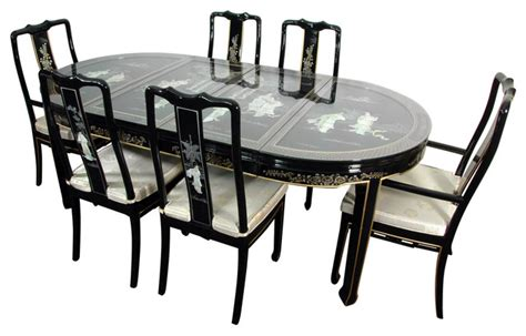 lacquer dining room set black mother  pearl asian