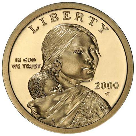 2000 w 22kt gold proof sacagawea dollar