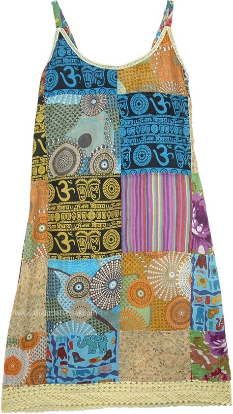 Patchwork Hippie Dress - ethnic patchwork boho hippie dress dresses blue