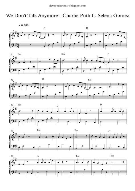 Free piano sheet music: Charlie Puth ft. Selena Gomez - We