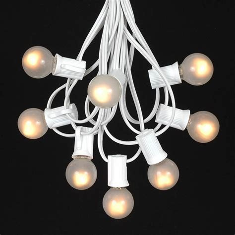 string white lights frosted white g30 globe outdoor string light set on