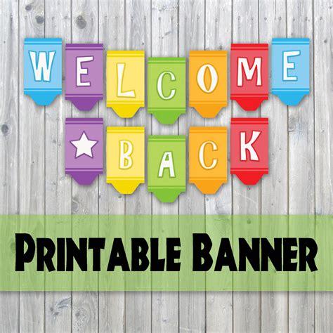 Welcome Back Crayon Design Printable Banner Back To School Instant Download From Oldmarket Free Printable Welcome Banner Template
