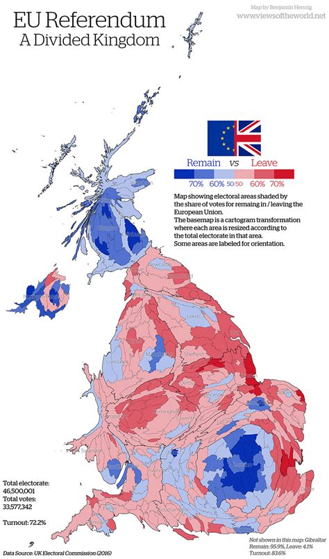 map uk remain leave the eu referendum views of the world