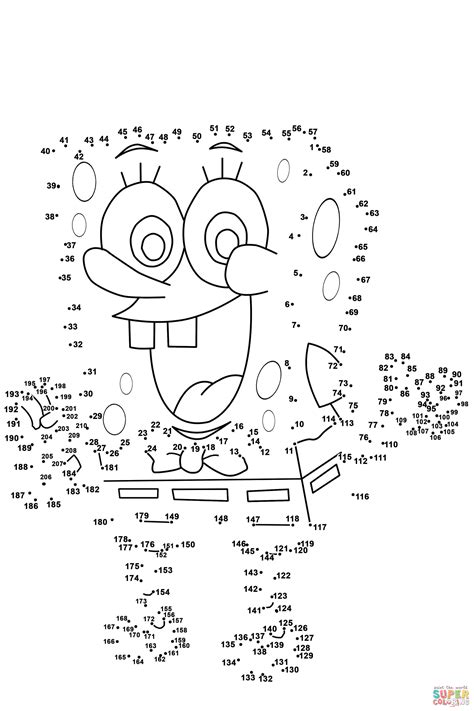 free printable dot to dot pages spongebob dot to dot free printable coloring pages