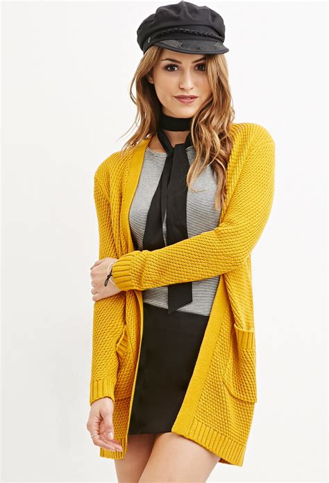 mustard colored cardigan forever 21 waffle knit cardigan in yellow lyst