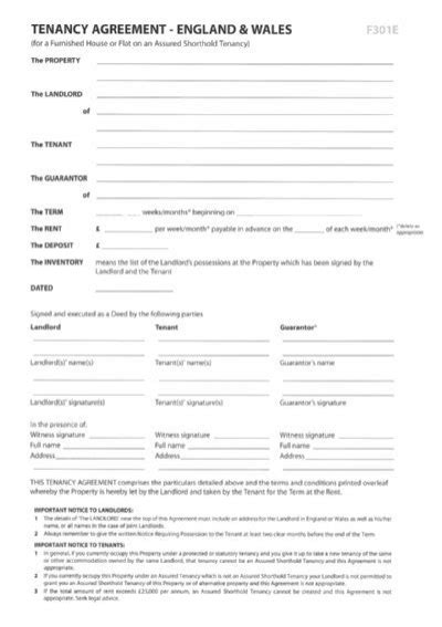 100 shorthold tenancy agreement template form 6a