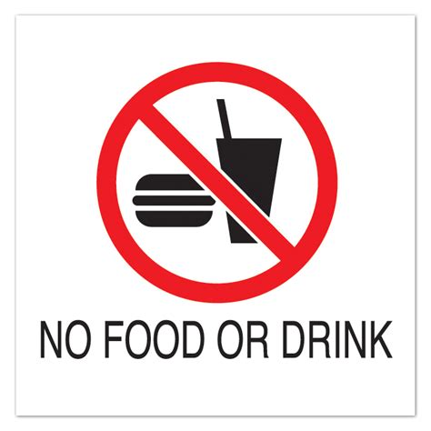 no food or drink 10 1 2 quot sq plastic sign no food or drink with symbol