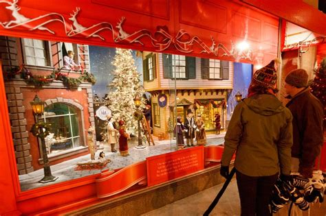 christmas window displays at the bay department store on