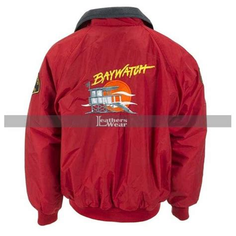 Jacket Bomber Bw baywatch david hasselhoff lifeguard bomber jacket costume