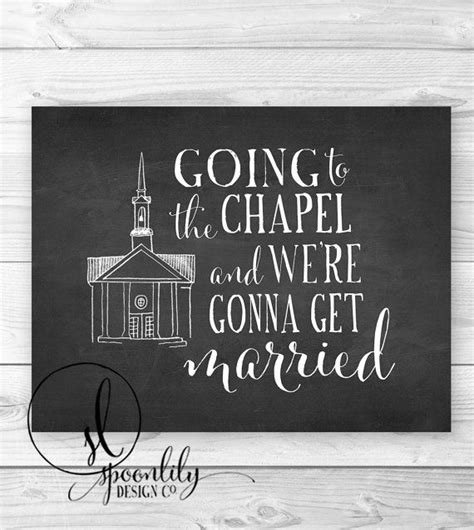 Going To The Chapel by Instant Chalkboard Wedding Printable Going To