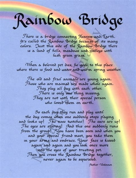 printable version of the rainbow bridge poem poem rainbow bridge for dogs rainbow bridge rainbow