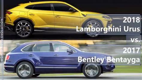 fastest lamborghini vs fastest 2018 lamborghini urus vs 2017 bentley bentayga s