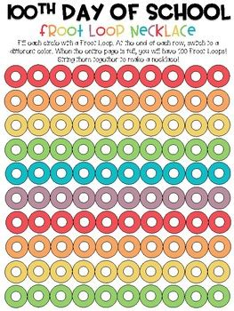 100 Day Sort Mat by 100th Day Of School Froot Loop Mat Freebie Necklace