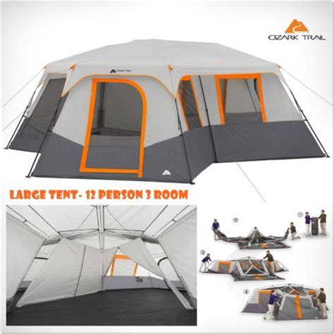 tent with screen room attached ozark trail 12 person 3 room instant cabin te 171 cool cing gear