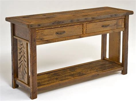 wooden sofa tables lodge furniture barn wood sofa table reclaimed with shelf