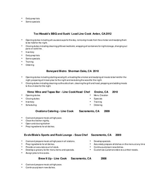 lead cook resume sle resume2014