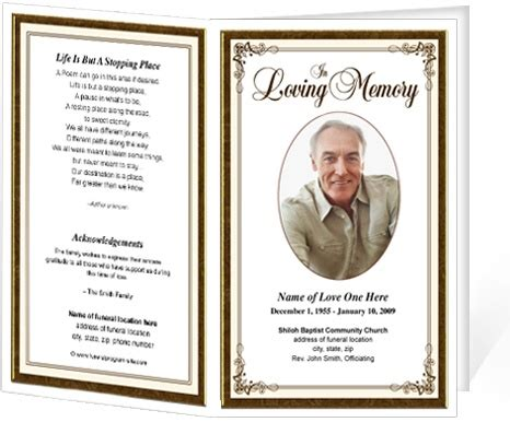 memorial cards template funeral bulletins simple frame funeral programs